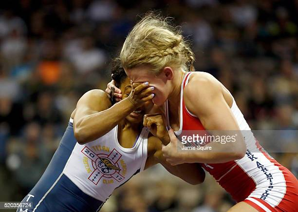 Haley Augello and Victoria Anthony compete in their Women's 48kg championship match on day 2 of the 2016 U.S. Olympic Team Wrestling Trials at...
