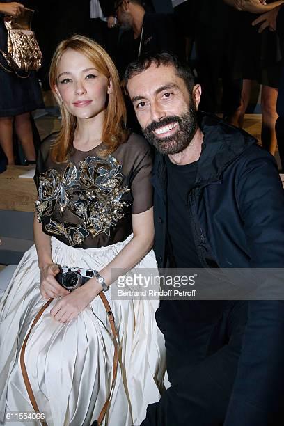 Haley Bennett and Stylist Giambattista Valli attend the Christian Dior show as part of the Paris Fashion Week Womenswear Spring/Summer 2017 on...