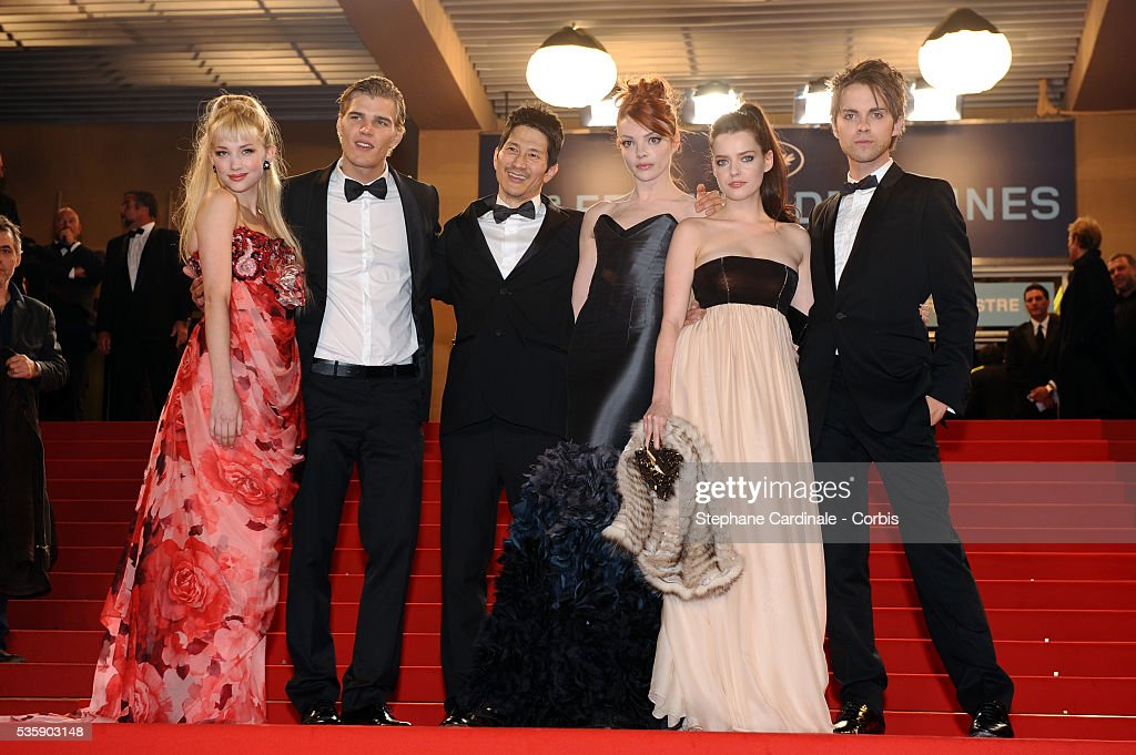Haley Bennett, Andy Fischer-Price, Gregg Araki, Nicole LaLiberte, Roxane Mesquida and Thomas Dekker at the premiere of 'Kaboom' during the 63rd Cannes International Film Festival.