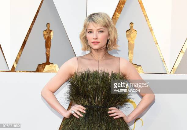 TOPSHOT Haley Bennett arrives for the 90th Annual Academy Awards on March 4 in Hollywood California / AFP PHOTO / VALERIE MACON