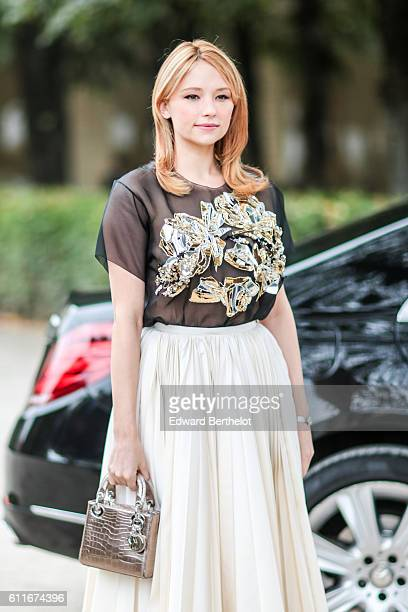 Haley Bennett is seen outside of the Christian Dior show during Paris Fashion Week Spring Summer 2017 at the Rodin museum on September 30 2016 in...