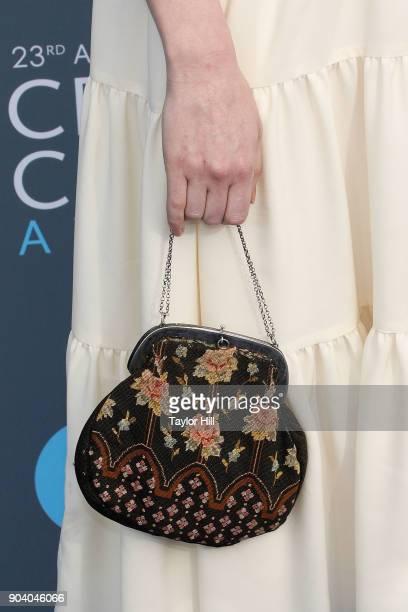 Haley Bennett purse detail attends the 23rd Annual Critics' Choice Awards at Barker Hangar on January 11 2018 in Santa Monica California