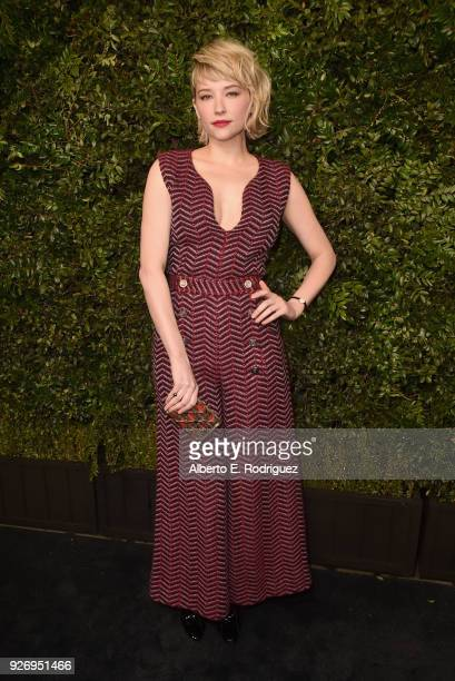 Haley Bennett wearing CHANEL attends Charles Finch and Chanel PreOscar Awards Dinner at Madeo in Beverly Hills on March 3 2018 in Beverly Hills...