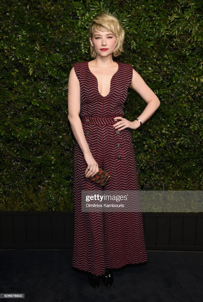 Haley Bennett, wearing CHANEL, attends Charles Finch and Chanel Pre-Oscar Awards Dinner at Madeo in Beverly Hills on March 3, 2018 in Beverly Hills, California.