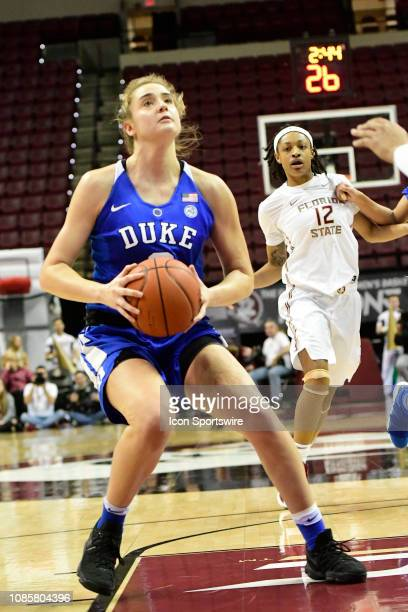 Haley Gorecki guard Duke University Blue Devils sets with the basketball in the Atlantic Coast Conference match-up against the Florida State...