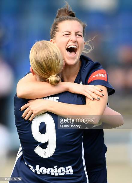 Haley Hanson and Natasha Dowie of the Victory celebrate a goal during the round four W-League match between the Melbourne Victory and the Western...