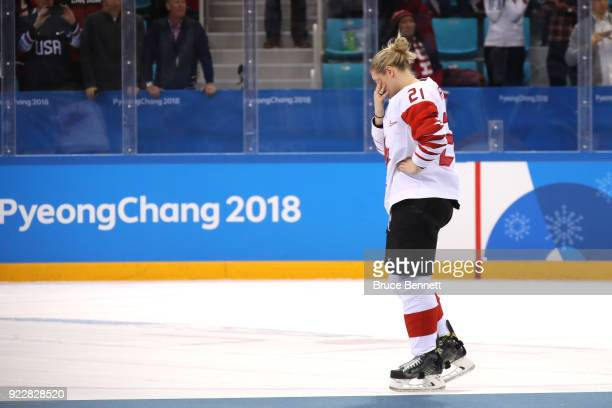Haley Irwin of Canada reacts after being defeated by Team United States 32 in the overtime penaltyshot shootout during the Women's Gold Medal Game on...