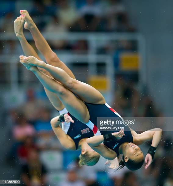 Haley Ishimatsu front and Marybeth Dunnichay of the United States compete in the 10meter Platform Synchronized diving final on Tuesday August 12 in...