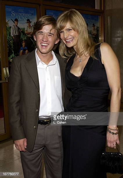 Haley Joel Osment and Kyra Sedgwick during Secondhand Lions Premiere Red Carpet at Mann National Theatre in Westwood California United States