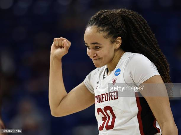 Haley Jones of the Stanford Cardinal celebrates after drawing the foul in the first half against the Missouri State Lady Bears during the Sweet...
