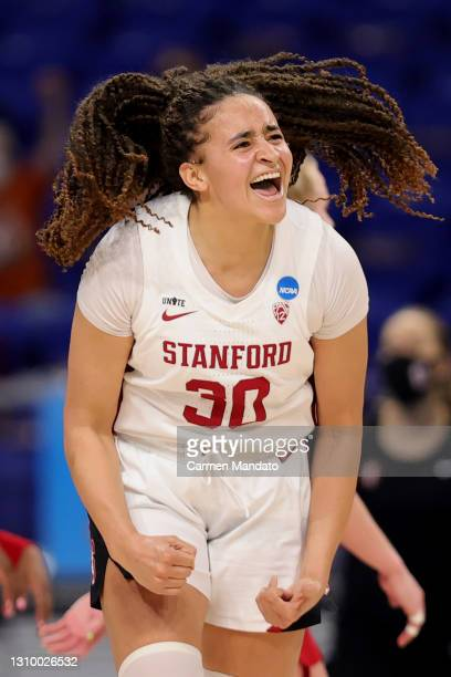 Haley Jones of the Stanford Cardinal reacts during the second half against the Louisville Cardinals in the Elite Eight round of the NCAA Women's...