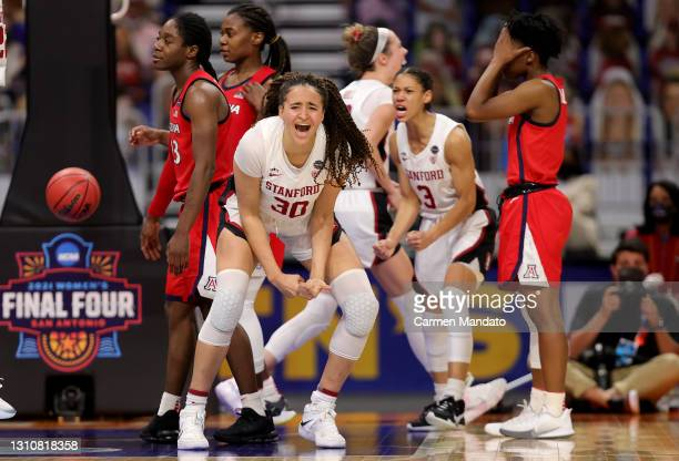 Haley Jones of the Stanford Cardinals celebrates a win against the Arizona Wildcats in the National Championship game of the 2021 NCAA Women's...