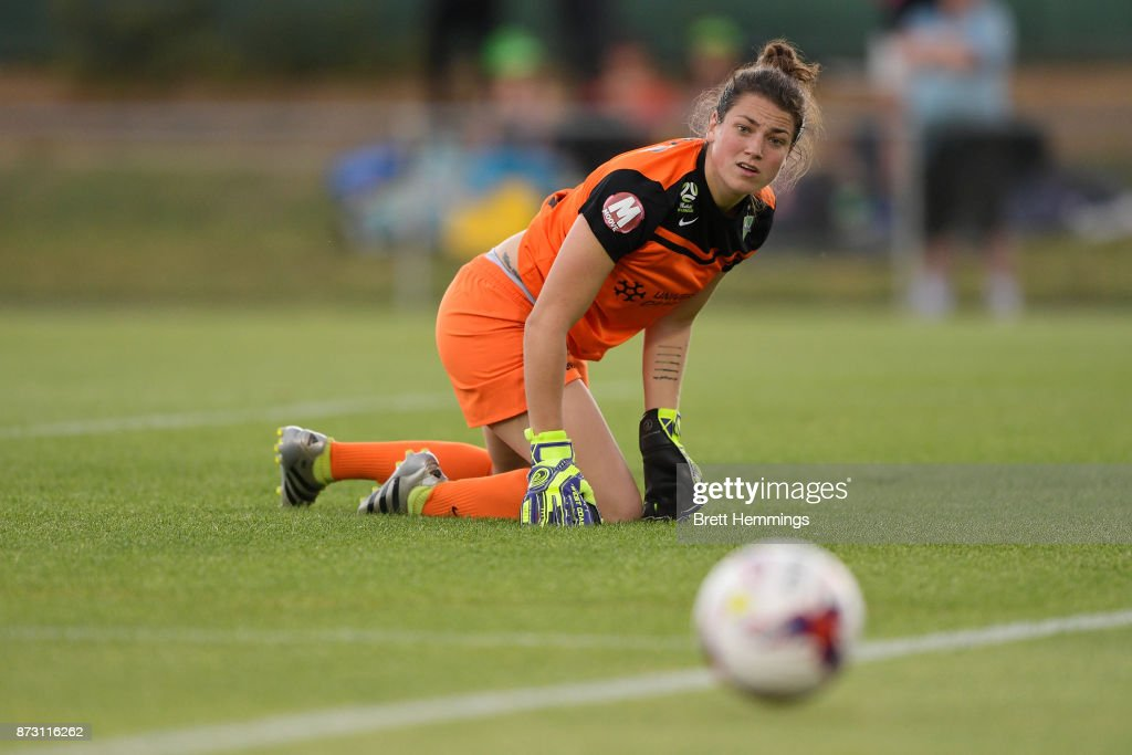 Haley Kopmeyer of Canberra looks on after making a save during the round three W-League match between Canberra United and Sydney FC at McKellar Park on November 12, 2017 in Canberra, Australia.