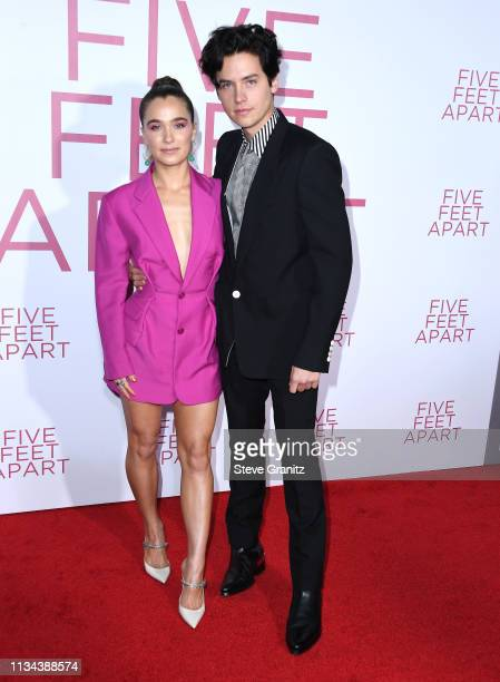 Haley Lu Richardson and Cole Sprouse arrive at the Premiere of Lionsgate's Five Feet Apart at Fox Bruin Theatre on March 07 2019 in Los Angeles...