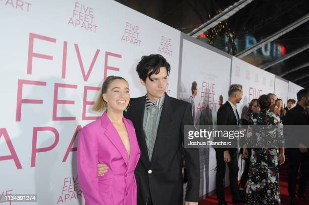 Haley Lu Richardson and Cole Sprouse attend the Five Feet Apart Los Angeles premiere on March 07 2019 in Los Angeles California