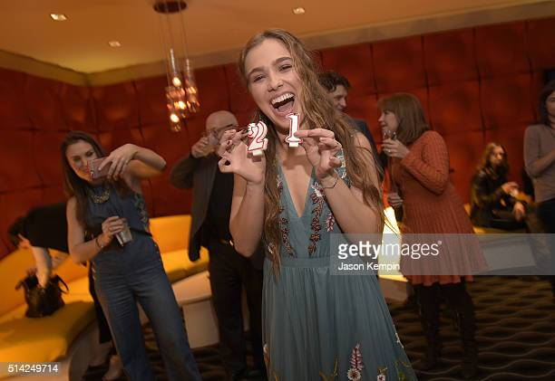 Haley Lu Richardson attends the after party for the premiere of Sony Pictures Classics' The Bronze at the Pacific Design Center on March 7 2016 in...