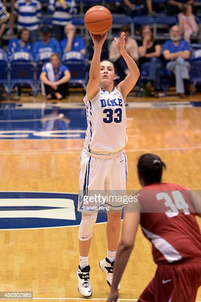 Haley Peters of the Duke Blue Devils puts up a shot against the Alabama Crimson Tide at Cameron Indoor Stadium on November 17 2013 in Durham North...