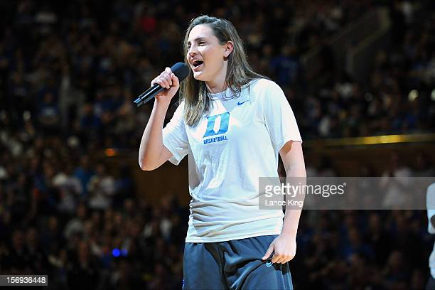 Haley Peters of the Duke Blue Devils speaks to fans during Countdown to Craziness at Cameron Indoor Stadium on October 19 2012 in Durham North...