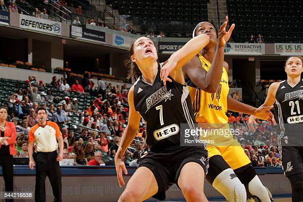 Haley Peters of the San Antonio Stars boxes out against Devereaux Peters of the Indiana Fever during their WNBA game at Bankers Life Fieldhouse on...
