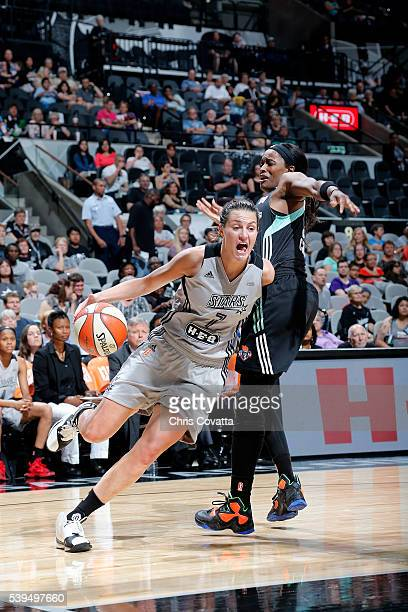 Haley Peters of the San Antonio Stars drives to the basket during the game against the New York Liberty on June 11 2016 at the ATT Center in San...