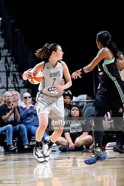 Haley Peters of the San Antonio Stars handles the ball during the game against the New York Liberty on June 11 2016 at the ATT Center in San Antonio...