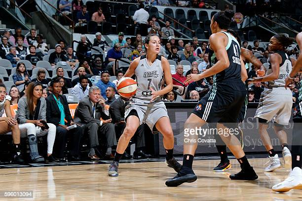 Haley Peters of the San Antonio Stars handles the ball during the game against the New York Liberty during the WNBA game on August 26 2016 at the ATT...