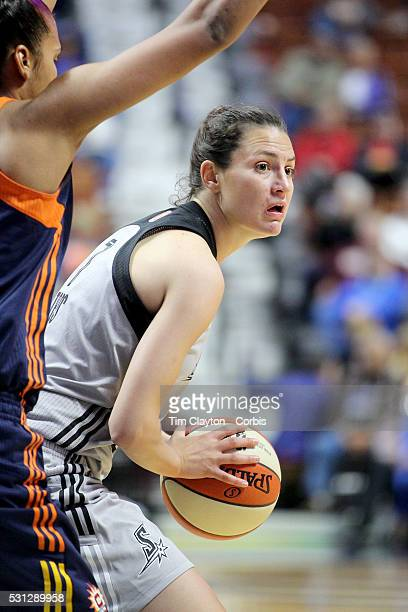 Haley Peters of the San Antonio Stars in action during the San Antonio Stars Vs Connecticut Sun preseason WNBA game at Mohegan Sun Arena on May 05...