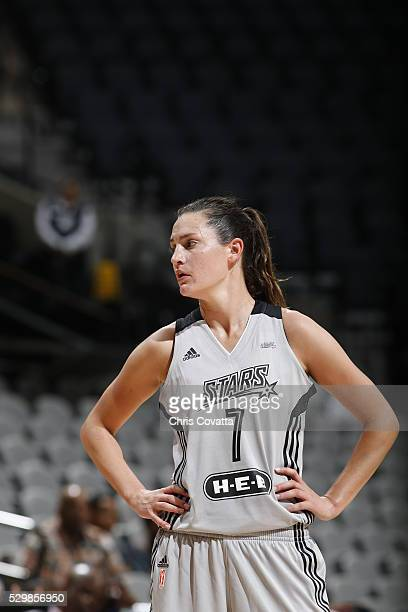Haley Peters of the San Antonio Stars is seen during the game against the Los Angeles Sparks on May 9 2016 at the ATT Center in San Antonio Texas...