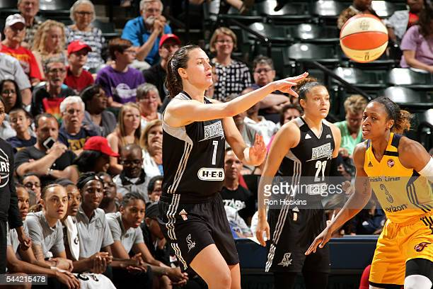 Haley Peters of the San Antonio Stars passes the ball during the game against the Indiana Fever during their WNBA game at Bankers Life Fieldhouse on...