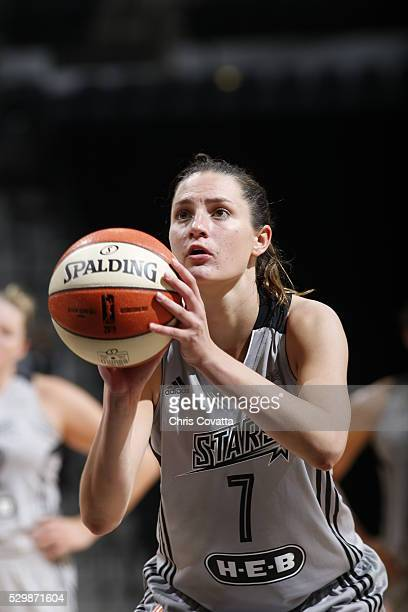 Haley Peters of the San Antonio Stars shoots a free throw against the Los Angeles Sparks on May 9 2016 at the ATT Center in San Antonio Texas NOTE TO...
