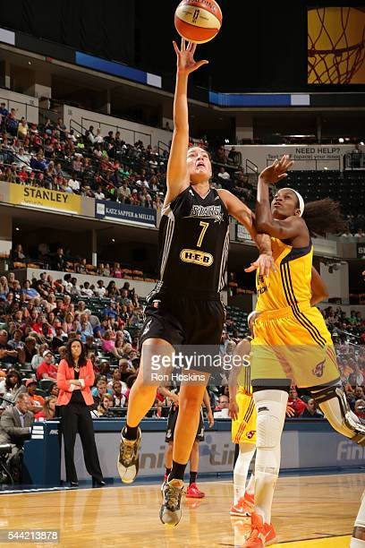 Haley Peters of the San Antonio Stars shoots a layup during the game against the Indiana Fever during their WNBA game at Bankers Life Fieldhouse on...
