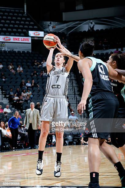 Haley Peters of the San Antonio Stars shoots the ball during the game against the New York Liberty on June 11 2016 at the ATT Center in San Antonio...