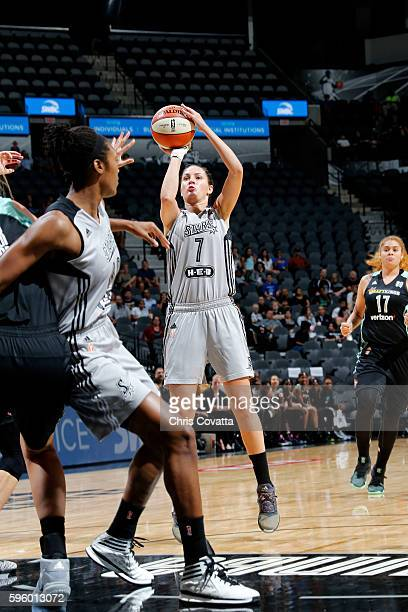 Haley Peters of the San Antonio Stars shoots the ball during the game against the New York Liberty during the WNBA game on August 26 2016 at the ATT...