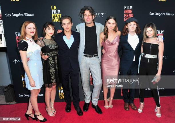 Haley Ramm Hannah Marks Dylan Sprouse Benjamin Kasulke Liana Liberato Luke Spencer Roberts and Addison Riecke attend the screening of 'Banana Split'...