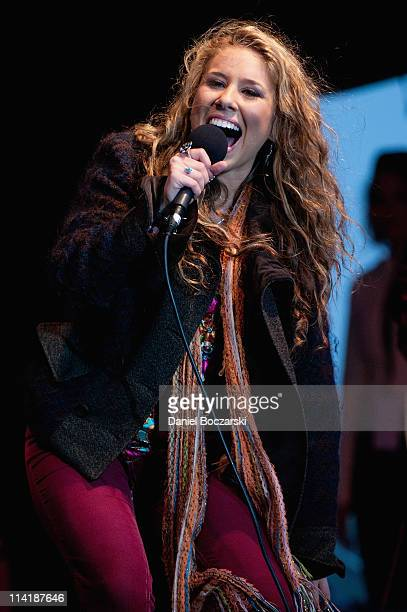 Haley Reinhart performs during the homecoming for American Idol Season 10 finalist Haley Reinhart on May 14 2011 at Arlington Park in Arlington...