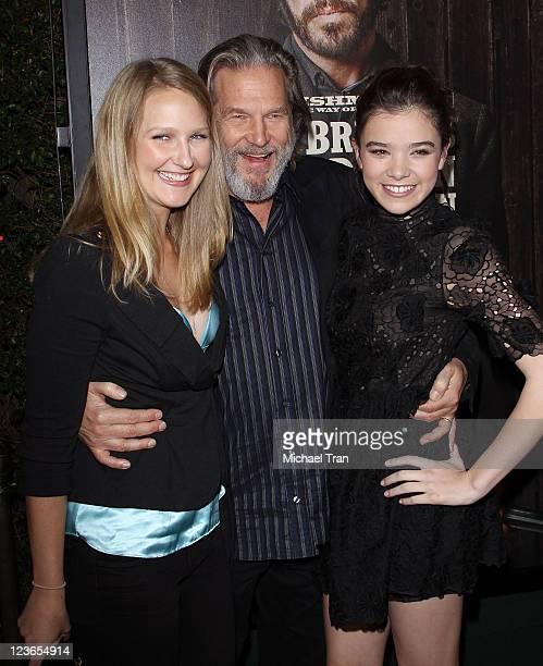 """Haley Roselouise Bridges, Jeff Bridges and Hailee Steinfeld arrive at the Los Angeles industry screening of """"True Grit"""" held at AMPAS Samuel Goldwyn..."""
