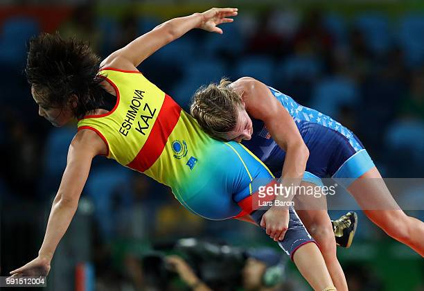 Haley Ruth Augello of the United States competes against Zhuldyz Eshimova of Kazakhstan during a Women's Freestyle 48kg Repechage Round 2 bout on Day...
