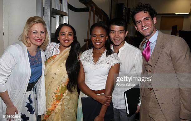 Haley Swindal Anisha Nagarajan Nikki Rene Daniels Telly Leung and John Riddle pose at the celebration for The Opening Night Performance of The Secret...