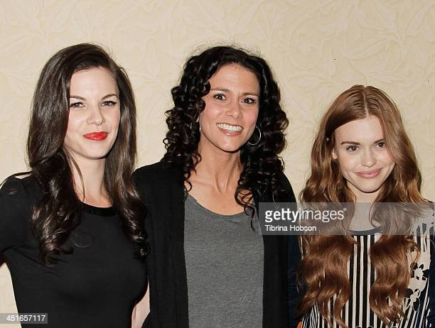 Haley Webb Melissa Ponzio and Holland Roden attend the MTV's 'Teen Wolf' fan appreciation event at Burbank Airport Marriott on November 23 2013 in...