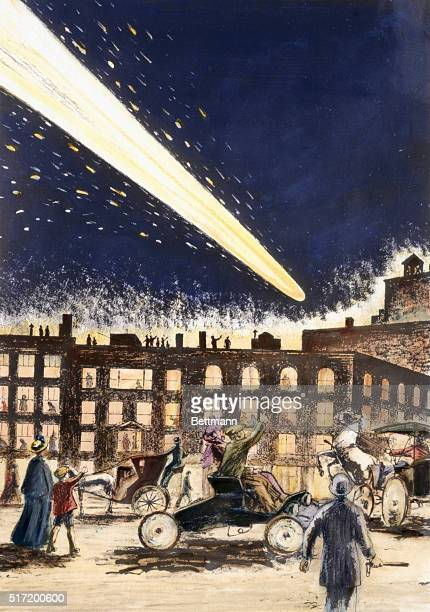 Haley's Comet as seen in the city, in 1910. Drawing by Fodestrum.