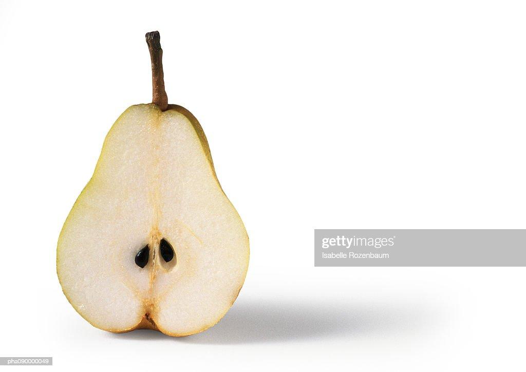 Half a pear, white background : Stockfoto