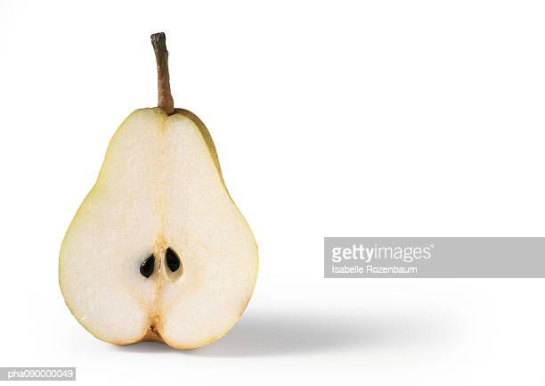 Half a pear, white background