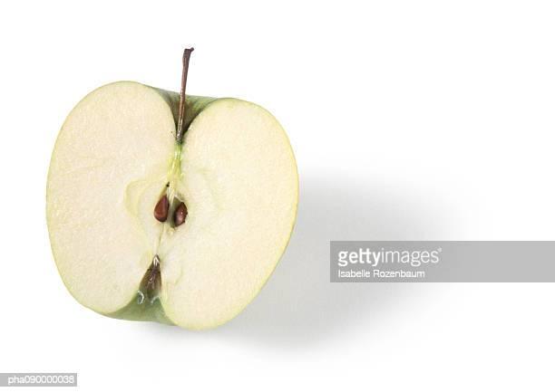 Half an apple, white background