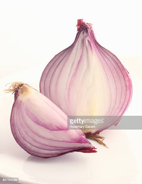 Half and a quarter of a red onion.