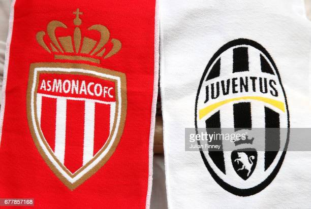 A half and half scarf is pictured prior to the UEFA Champions League Semi Final first leg match between AS Monaco v Juventus at Stade Louis II on May...