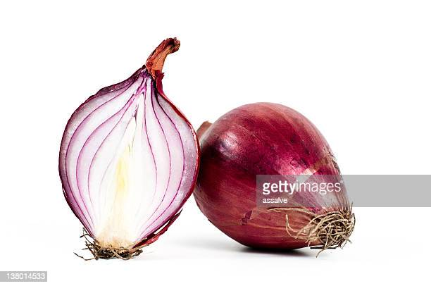 half and whole red onion