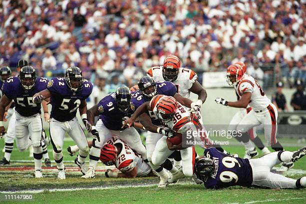 Half Back Brandon Bennett of the Cincinnati Bengals carries the ball through the Baltimore Ravens front line for some extra yardage with the help of...
