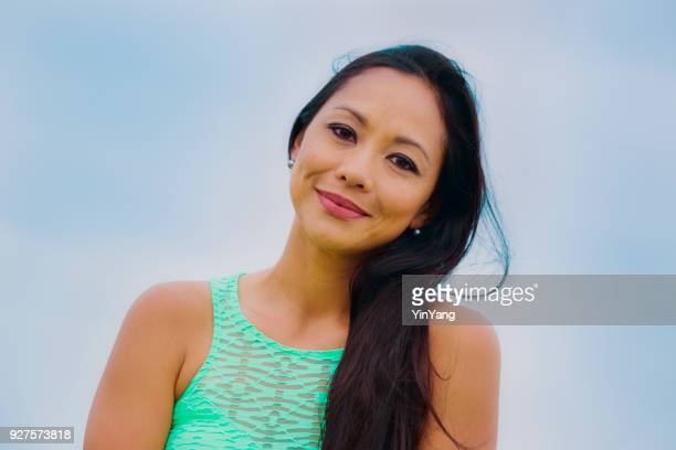 half body portrait of a hawaiian polynesian young woman - polynesian culture stock photos and pictures
