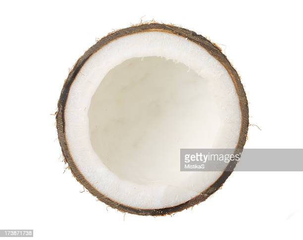 Half coconut on white background
