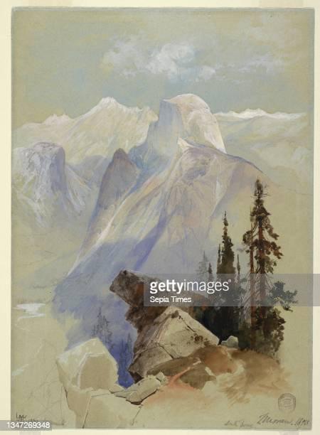 Half Dome, Yosemite, Thomas Moran, American, b. Britain, 1837–1926, Brush and watercolor, white gouache, graphite on blue-gray wove paper, Vertical...